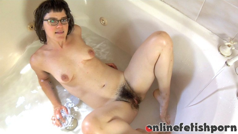 Wearehairy.com – Mona gets wet in white stockings Mona 2012 Brunettes